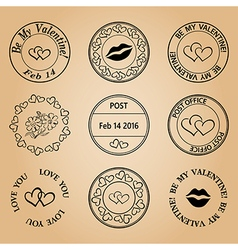 Postage stamps for valentine day - black elements vector
