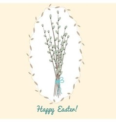 Easter card with willow bouquet vector