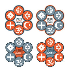 United against terrorism icon set vector