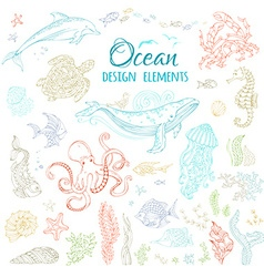 Set of ocean animals and plants vector