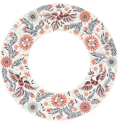 Mexican embroidery round frame pattern vector image