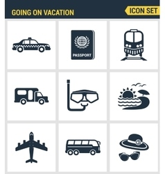 Icons set premium quality of going vacation icon vector image