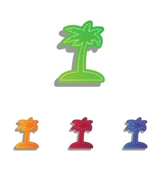 Coconut palm tree sign colorfull applique icons vector