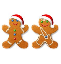 A set of christmas gingerbread man in a santa hat vector
