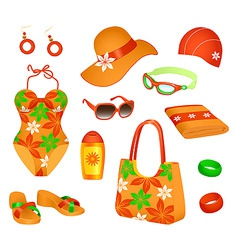 beach accessories for woman vector image vector image
