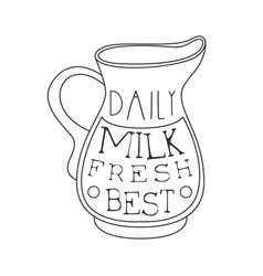 Best daily fresh milk product promo sign in sketch vector