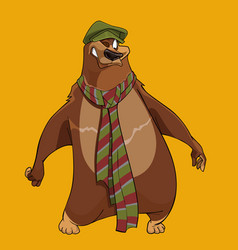 cheerful cartoon bear with the cap and scarf vector image vector image