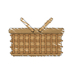 Drawing wicker basket picnic image vector