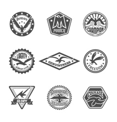 Eagle label icon set vector