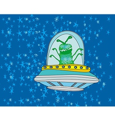 Extraterrestrial in a flying saucer vector image