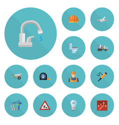 Flat icons hoisting machine worker bulb and vector
