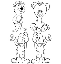 Four outline funny bear vector image vector image