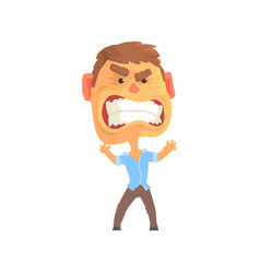 Furious man with aggressive facial expressions vector