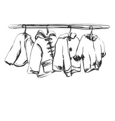Hand drawn wardrobe sketch baby clothes on the vector