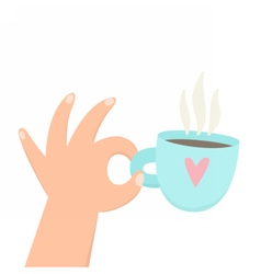 Hand holding cup with hot beverage coffee tea vector