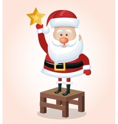 Happy santa stand on chair with star golden vector