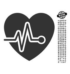 Heart pulse icon with men bonus vector
