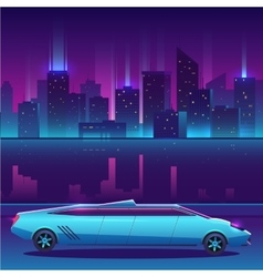 Limousine in front of night city urban vector