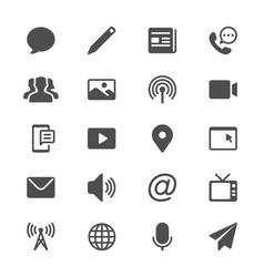 Media and communication glyph icons vector