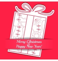Merry Christmas card on paper with gift vector image vector image