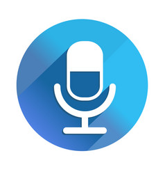 Microphone long shadow icon style is a flat vector