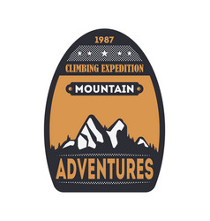 Mountain adventures vintage isolated badge vector