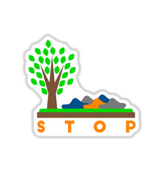 Paper sticker on white background stop vector