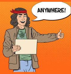 Pop art hitchhiking hippie tourist vector