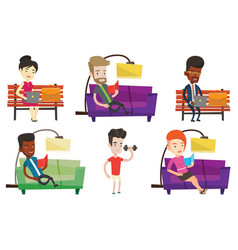 Set of people during leisure activity vector