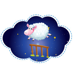 Sheep jumping over the fence at night vector