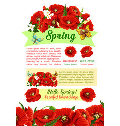 Spring holidays poster with springtime flower vector