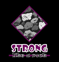 Strong like a rock abstract violet style flat vector