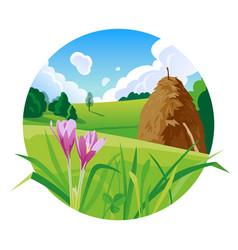 Summer landscape with a haystack vector