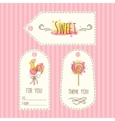 Tags with lollipop hand drawn vector image