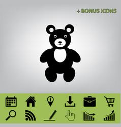 Teddy bear sign black icon vector