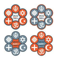 United against terrorism icon set vector