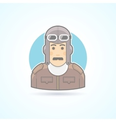 Vintage pilot man airman outfit example icon vector image vector image