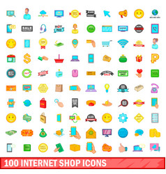 100 internet shop icons set cartoon style vector