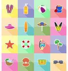 Objects for recreation a beach flat icons 18 vector