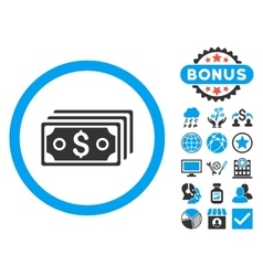 Dollar banknotes flat icon with bonus vector