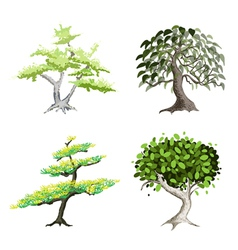 An Isometric Set of Green Trees and Plants vector image
