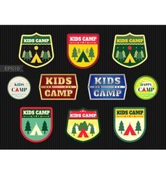 Kids adventure summer camp emblem or badge vector