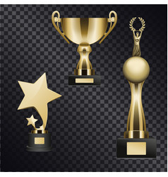 Realistic golden trophy cups set vector