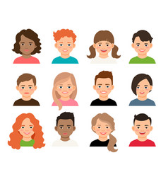 Young teenage girls and boys avatars vector
