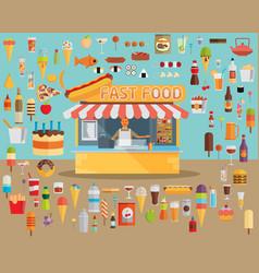 stall sells fast food flat vector image