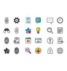 Fingerprint icons identification signs vector