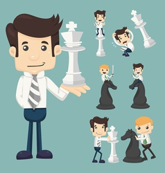Set of businessman fighting playing chess vector image