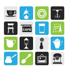 Silhouette Coffe and coffeehouse icons vector image