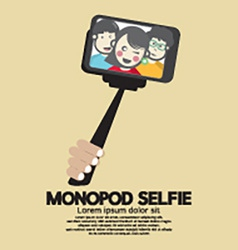 Monopod selfie self portrait tool for smartphone vector
