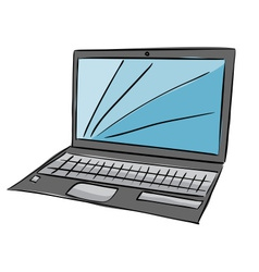 laptop with blue screen vector image